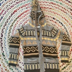 Anthropologie Sparrow Fair Isle Hooded Cardigan